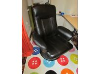 BLACK LEATHER RECLINING SWIVEL ARMCHAIR/GAMING CHAIR