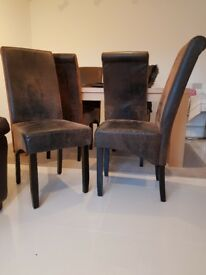 6 x leather effect dining chairs