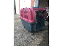 Skudo dog carrier, car crate with wheels( £115 new without wheels) 70x63x90cm approx