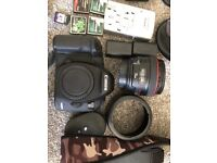 Canon 5D Mk iii with 50mm F/1.2L Lens, neutral density kit, camera bag, tripod and accessories