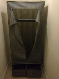 Fabric and metal framed single wardrobe