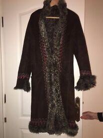 Ladies coat. Brown Genuine Ovine Leather