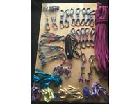 Climbing rack and 50m rope