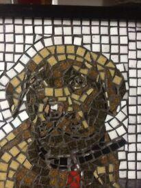 Mosaic Portrait Choc Lab Puppy