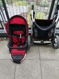 kiddicare pushchair with raincover and foot muff.