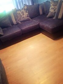 Immaculate grey material & black leather corner suite for sale £600