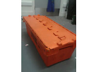 Orange plastic storage crate box rentacrate used