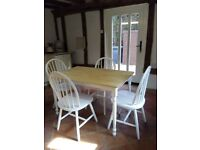 Table and 4 chairs, solid wood and white