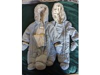 0-3 Matching Twin Boy John Lewis snow suit/ pram suit- washed but never worn