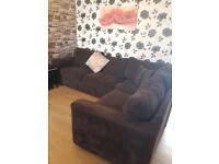 Lovely modern brown cord fabric Harvey's corner sofa