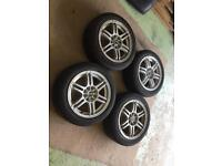Set of wolfrace 15 inch alloys 185 55 15 tyres 4x100/108