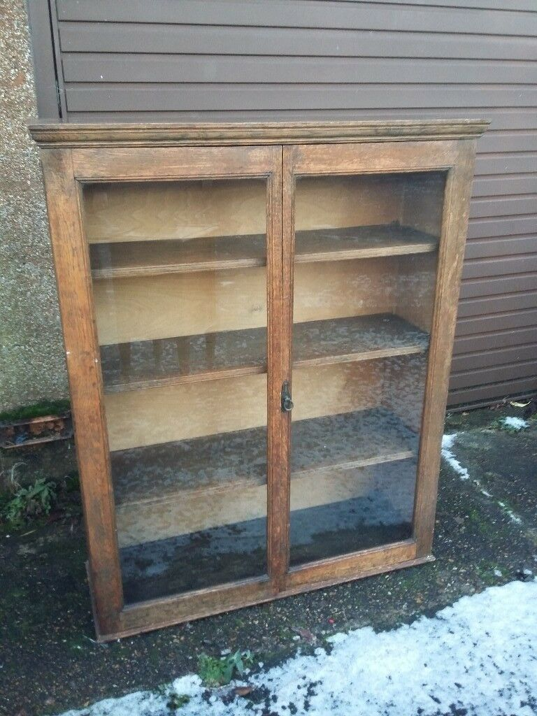 Antique Glass Front Bookcase Cupboard With Shelves In Cambridge Cambridgeshire Gumtree