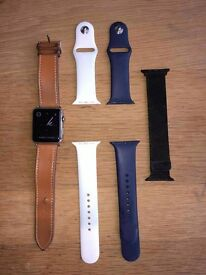 Apple Watch 42mm Stainless Steel + 4 Straps