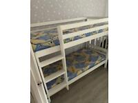 Shorty white wood bunk beds