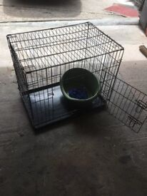 Dog cage small plastic dog bed & training lead