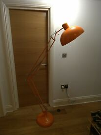Extra large orange anglepoise floor lamp - excellent condition