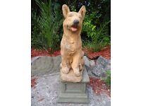 Vintage Style Large Stone Golden German Shepherd Dog & Plinth Garden Ornament