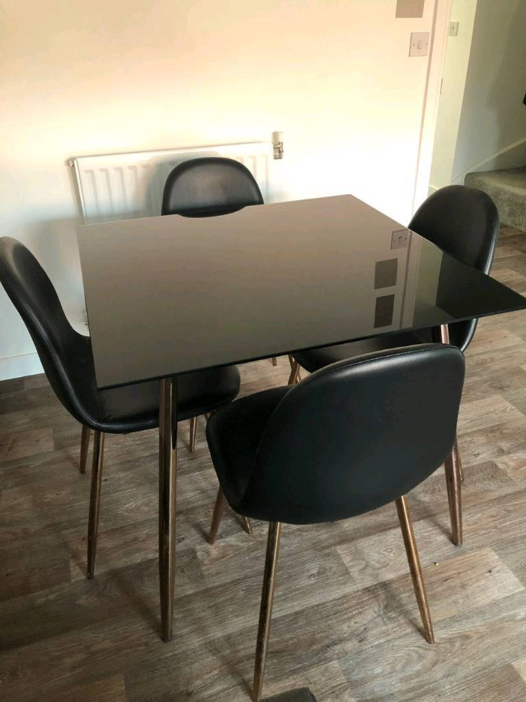 Black/Copper Glass Dining Table & 4 Chairs