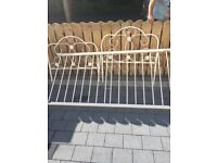 Off white single metal bed frame