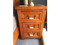 Antique pine bedroom furniture with decorative antique brass ceramic handles
