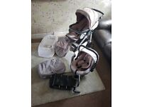 Silver cross sugared almonds pink and grey pushchair with travel system and base