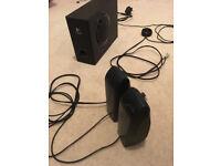 Logitech sound system w/ base adjust, volume dial and headphone/mic jack