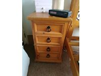 Pine double bed and bedside cabinet