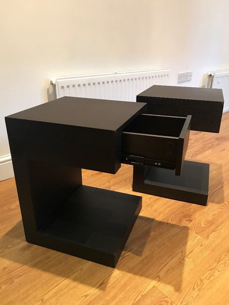 2x Dwell Seattle Bedside Tables With Drawer Black In