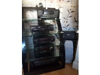 Black technics stereo system with stand