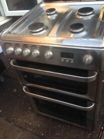 Hot point Silver Gas cooker 60cm.....Mint