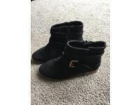 Girl black suede ankle boots. Size 13