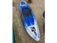 Barely Used Fishing Kayak for sale - excellent condition. Includes paddle, seat & wheels. BARGAIN!
