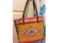 Yello & pink embroidered bag