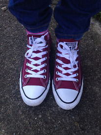 Womens Converse Burgundy all star trainers, size 5 UK