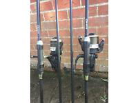 2x Nash h gun rods 2.75tc 2x okuma powerliner big pit bait runner reels