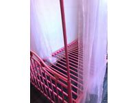 //(%)\ SINGLE PINK GIRLS FOUR POSTER BED FRAME