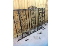 Iron gates; 2 drive way gates and one garden gate. 4 gate posts. Need some TLC, not a lot