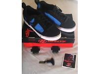 Heelys size 8 Helix black/blue