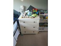 Mamas and papas nursery set.. Cot/cot bed, drawers and wardrobe