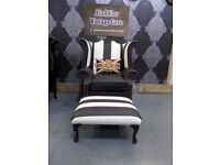NEW Chesterfield Newcastle Football Queen Anne Wing Back Chair & Stool Black & White - UK Delivery