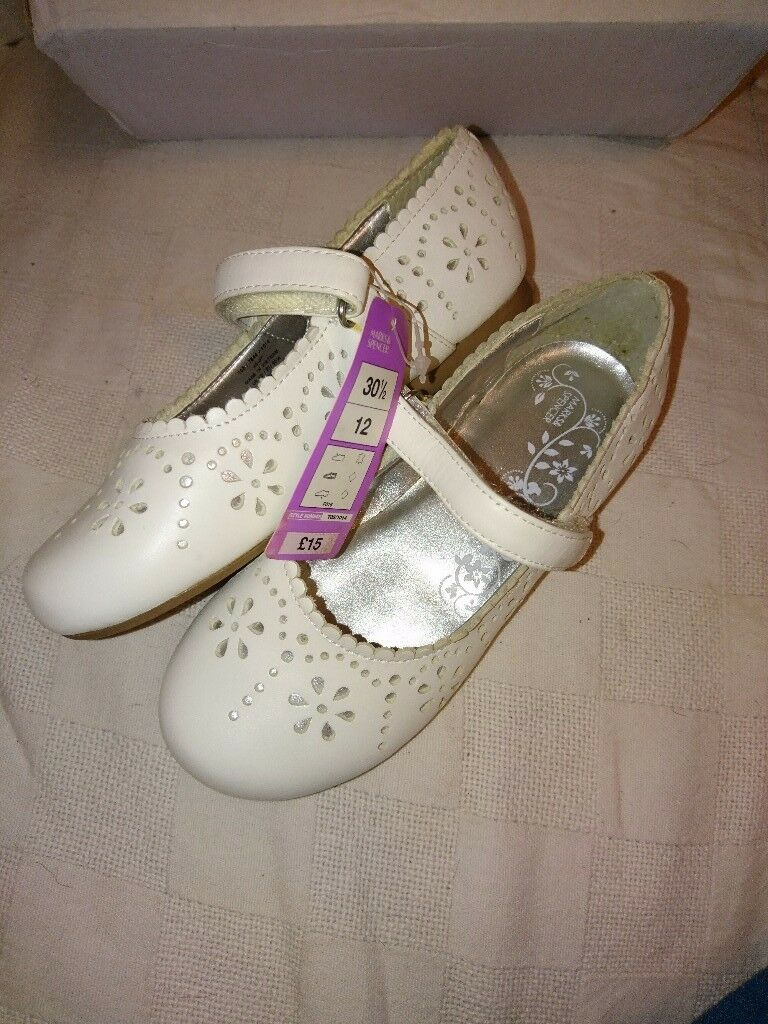 M&S white leather bar shoes BNWT sz12