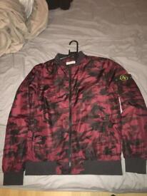 Stone Island Camoflauge Jacket burgundy