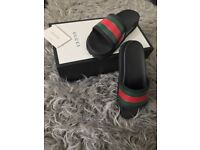 Genuine Mens Designer Gucci Pursuit Trek Web Slides Sandals UK Size 11