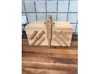 REDUCED Lovely Wooden Small Cantilever Sewing Box