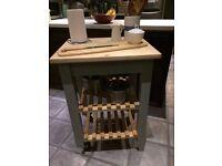 Solid kitchen island/butcher's block, Annie Sloan 'Paris Grey' painted legs