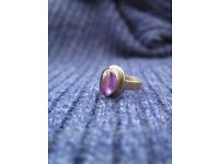 Silver ring with real amethyst