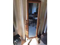 Pine stand mirror