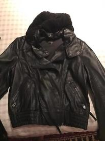 Leather jacket topshop size 16