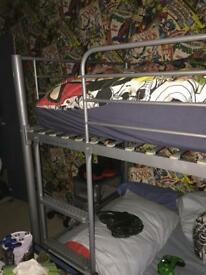 Metal frame bunk beds with mattresses