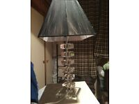 MOST BEAUTIFUL LAMP IN HEAVY GLASS - WITH BEAUTIFUL BLACK LAMPSHADE - ARCHITECTURAL GLASS -TOP CON -